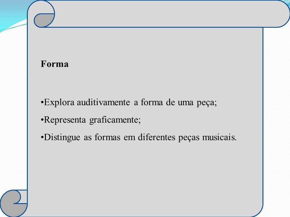 Forma Explora auditivamente a forma de uma peça; Representa graficamente; Distingue as formas em diferentes peças musicais.