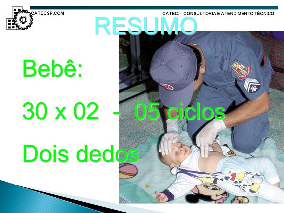 RESUMO Bebê: 30 x 02 - 05 ciclos Dois dedos CATECSP.COM