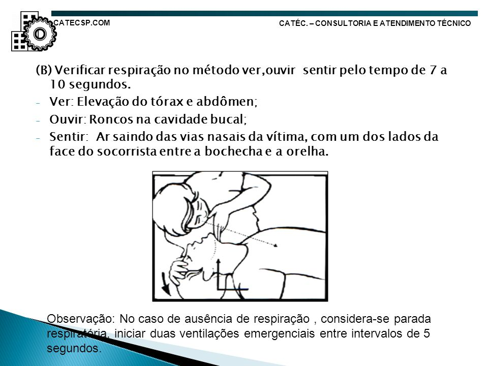Ver: Elevação do tórax e abdômen; Ouvir: Roncos na cavidade bucal;