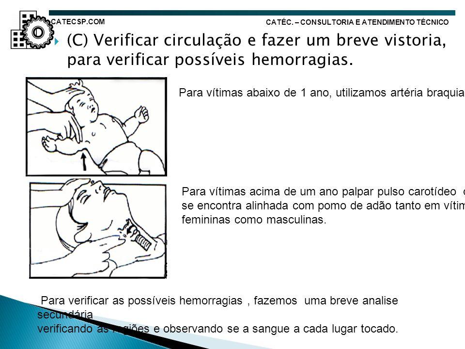 CATECSP.COM CATÉC. – CONSULTORIA E ATENDIMENTO TÉCNICO. (C) Verificar circulação e fazer um breve vistoria, para verificar possíveis hemorragias.