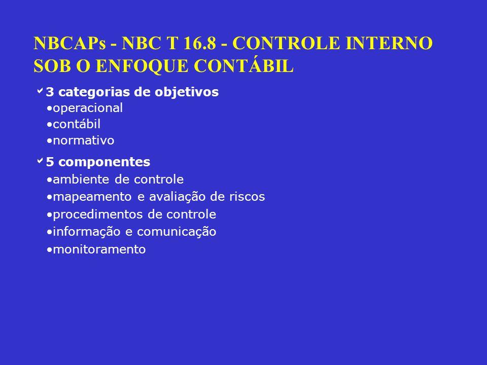 NBCAPs - NBC T 16.8 - CONTROLE INTERNO SOB O ENFOQUE CONTÁBIL