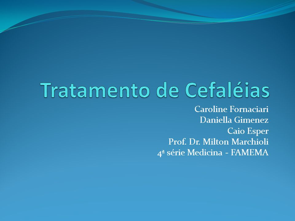 Tratamento de Cefaléias