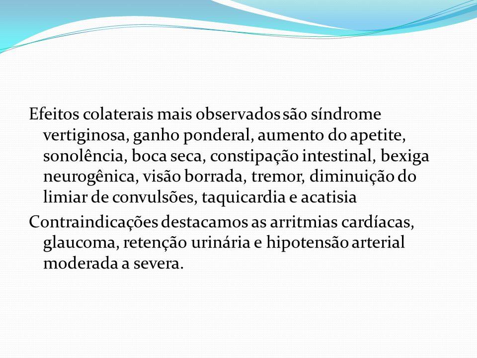 Efeitos colaterais mais observados são síndrome vertiginosa, ganho ponderal, aumento do apetite, sonolência, boca seca, constipação intestinal, bexiga neurogênica, visão borrada, tremor, diminuição do limiar de convulsões, taquicardia e acatisia Contraindicações destacamos as arritmias cardíacas, glaucoma, retenção urinária e hipotensão arterial moderada a severa.
