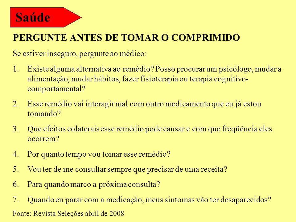 Saúde PERGUNTE ANTES DE TOMAR O COMPRIMIDO