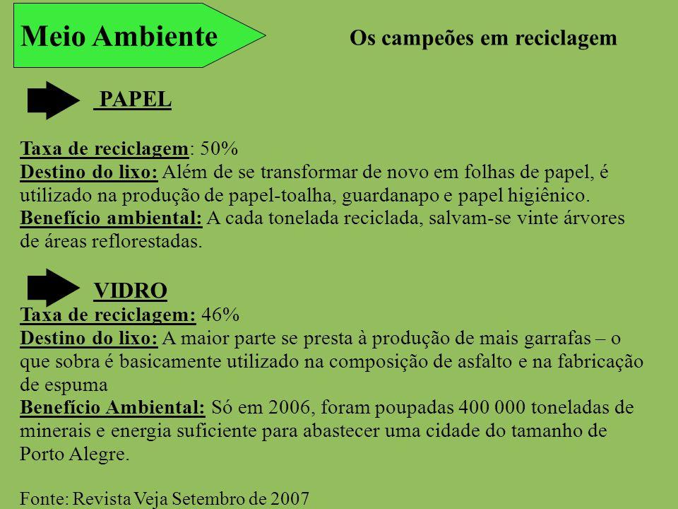 Meio Ambiente Os campeões em reciclagem PAPEL VIDRO