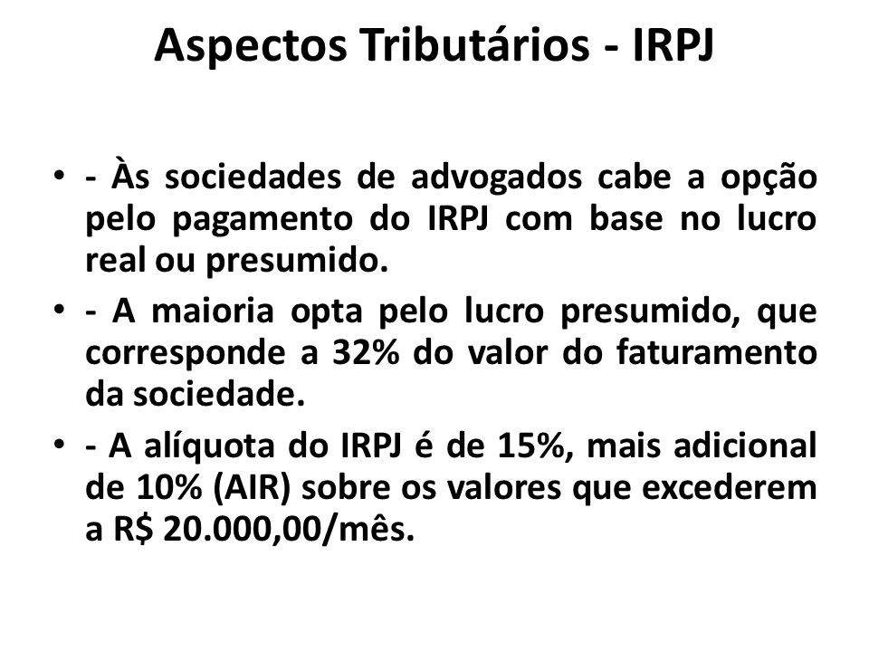 Aspectos Tributários - IRPJ