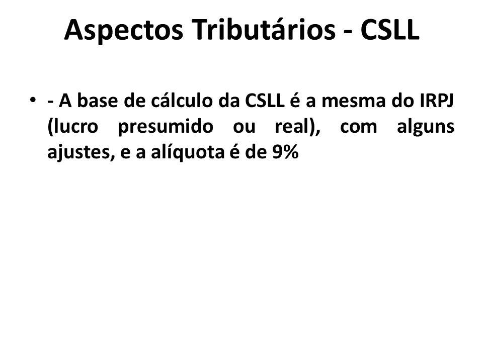Aspectos Tributários - CSLL