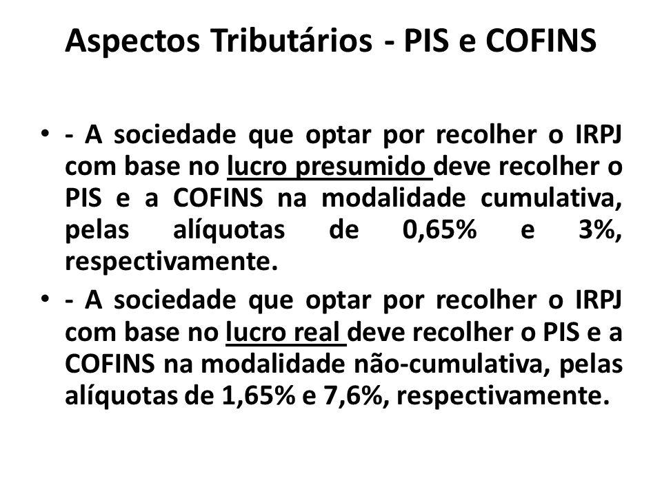 Aspectos Tributários - PIS e COFINS