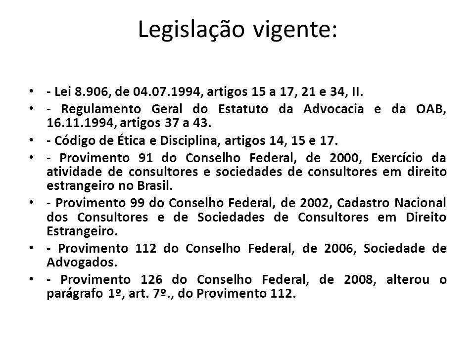 Legislação vigente: - Lei 8.906, de 04.07.1994, artigos 15 a 17, 21 e 34, II.