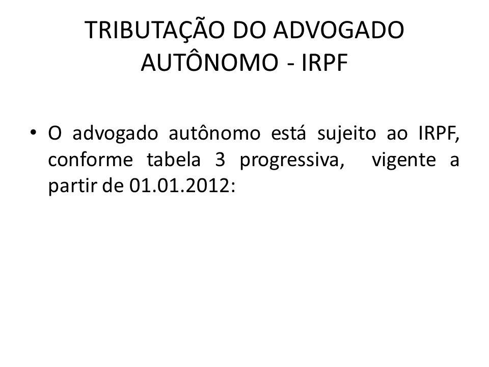 TRIBUTAÇÃO DO ADVOGADO AUTÔNOMO - IRPF