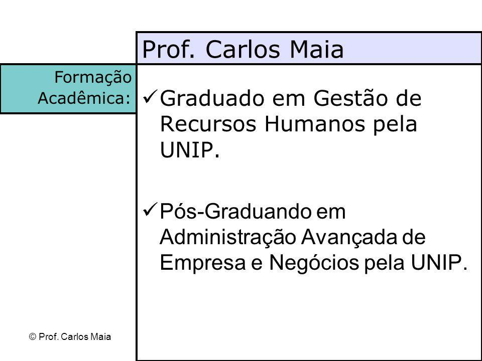 Prof. Carlos Maia Graduado em Gestão de Recursos Humanos pela UNIP.