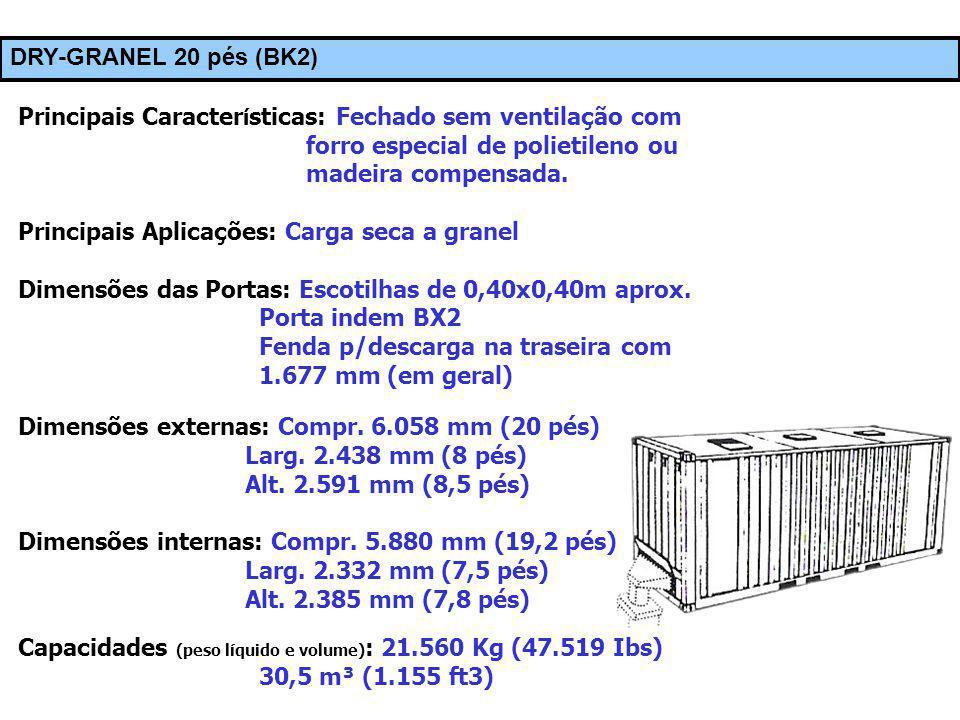 Principais Aplicações: Carga seca a granel