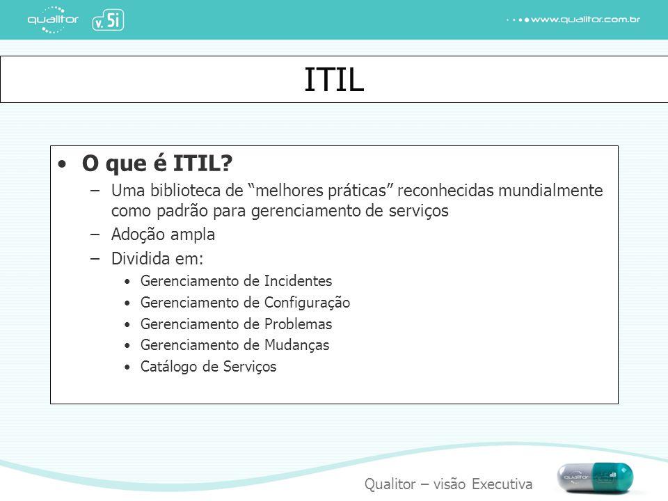ITIL O que é ITIL Uma biblioteca de melhores práticas reconhecidas mundialmente como padrão para gerenciamento de serviços.
