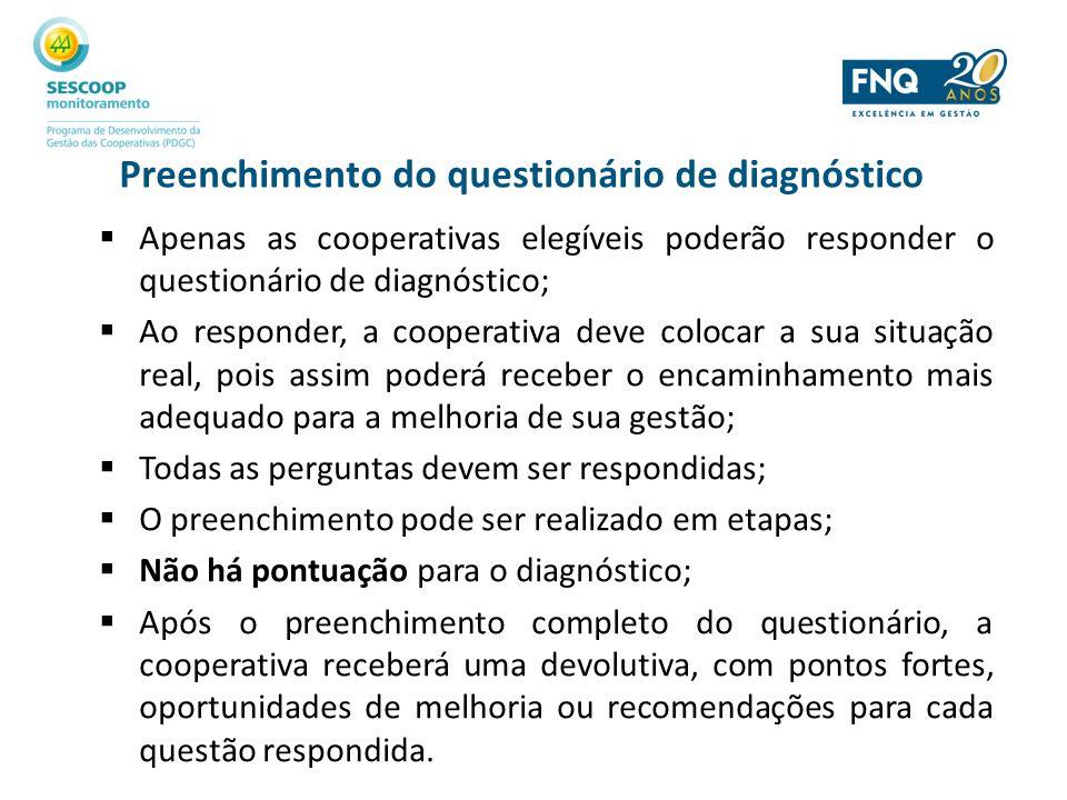 Preenchimento do questionário de diagnóstico