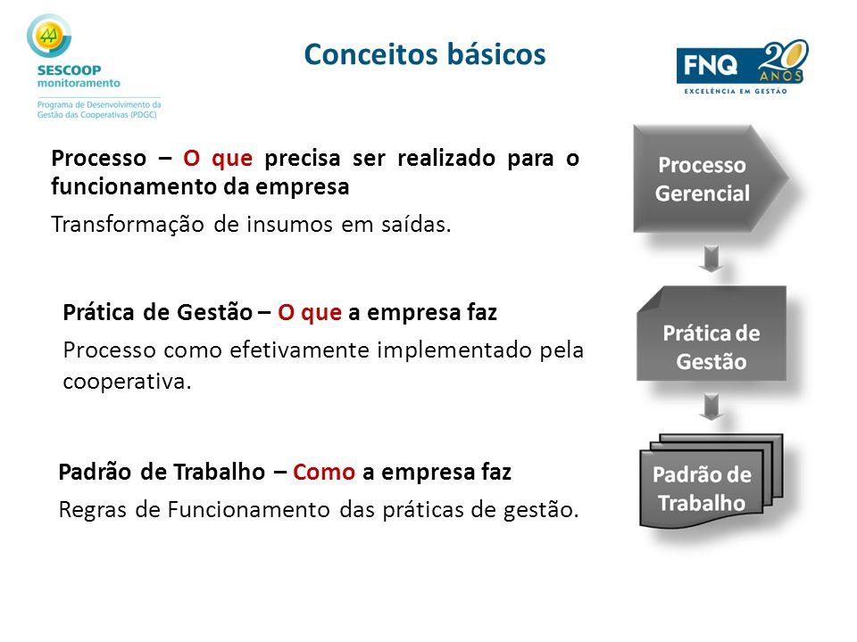 Conceitos básicos Processo – O que precisa ser realizado para o funcionamento da empresa. Transformação de insumos em saídas.