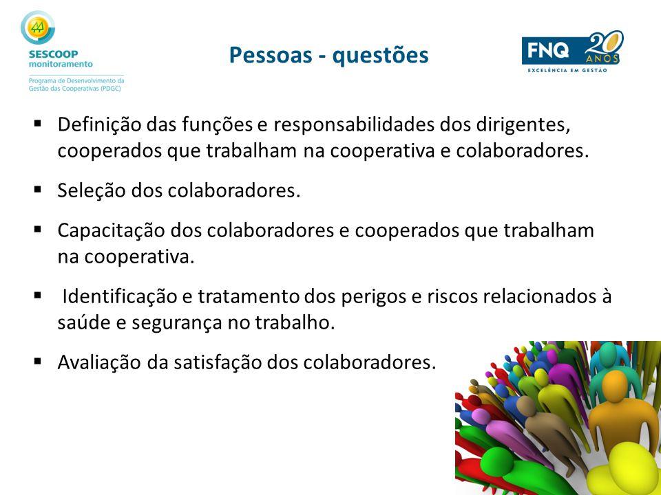 Pessoas - questões Definição das funções e responsabilidades dos dirigentes, cooperados que trabalham na cooperativa e colaboradores.
