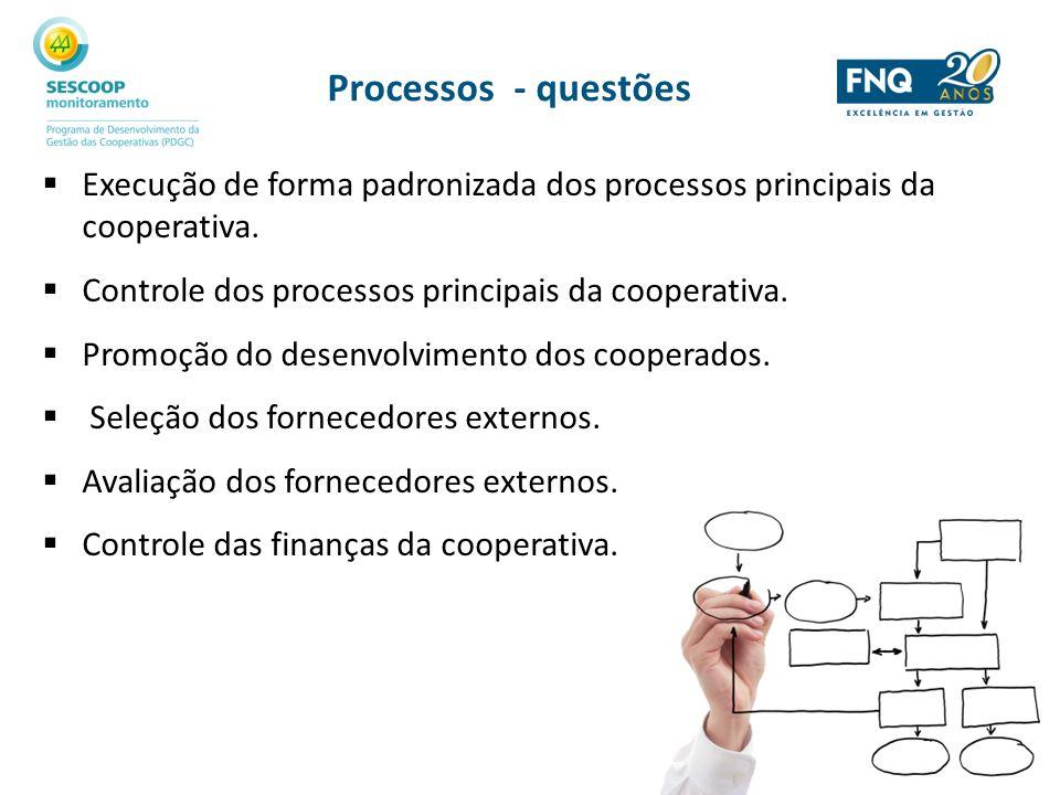 Processos - questões Execução de forma padronizada dos processos principais da cooperativa. Controle dos processos principais da cooperativa.