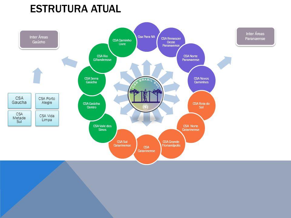 ESTRUTURA ATUAL CSA Gaucha Inter Áreas Paranaense Inter Áreas Gaúcho