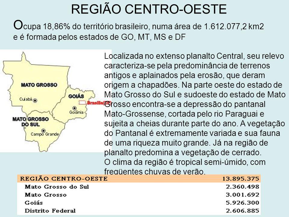 REGIÃO CENTRO-OESTE Ocupa 18,86% do território brasileiro, numa área de 1.612.077,2 km2 e é formada pelos estados de GO, MT, MS e DF