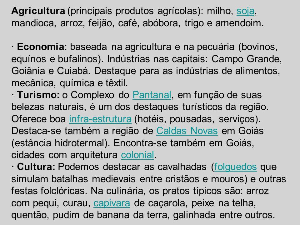 Agricultura (principais produtos agrícolas): milho, soja, mandioca, arroz, feijão, café, abóbora, trigo e amendoim.