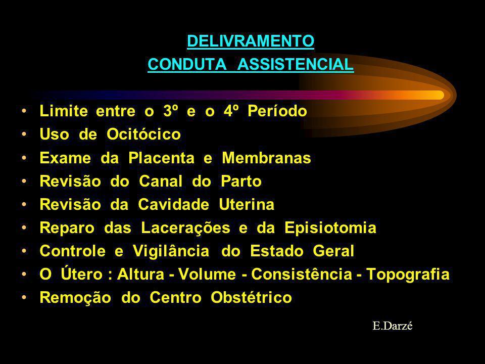 DELIVRAMENTO CONDUTA ASSISTENCIAL. Limite entre o 3º e o 4º Período. Uso de Ocitócico. Exame da Placenta e Membranas.