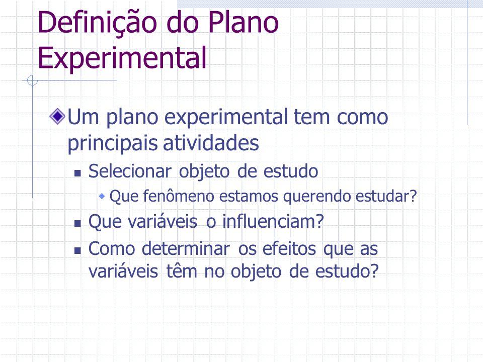 Definição do Plano Experimental