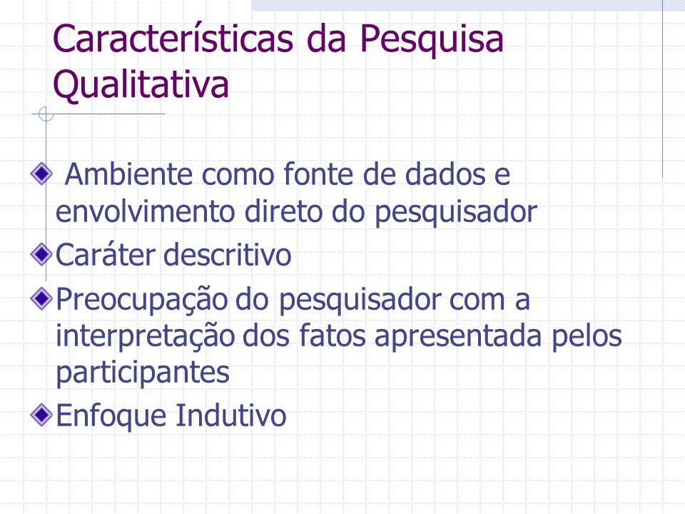 Características da Pesquisa Qualitativa