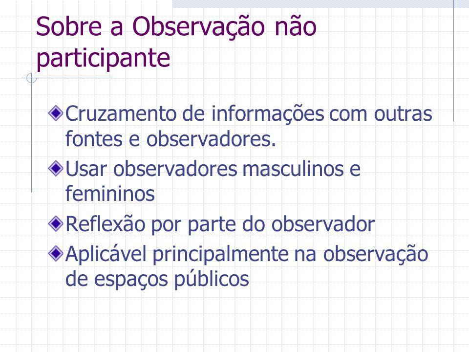 Sobre a Observação não participante