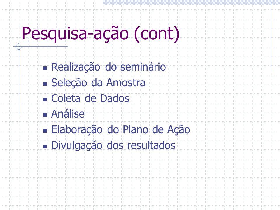 Pesquisa-ação (cont) Realização do seminário Seleção da Amostra