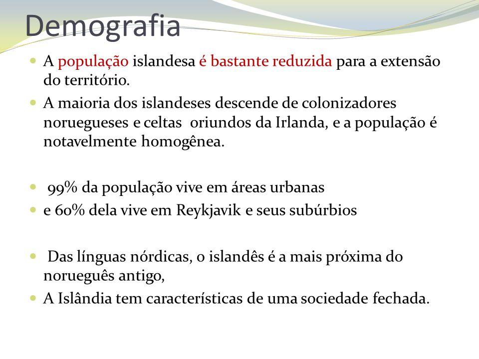 Demografia A população islandesa é bastante reduzida para a extensão do território.