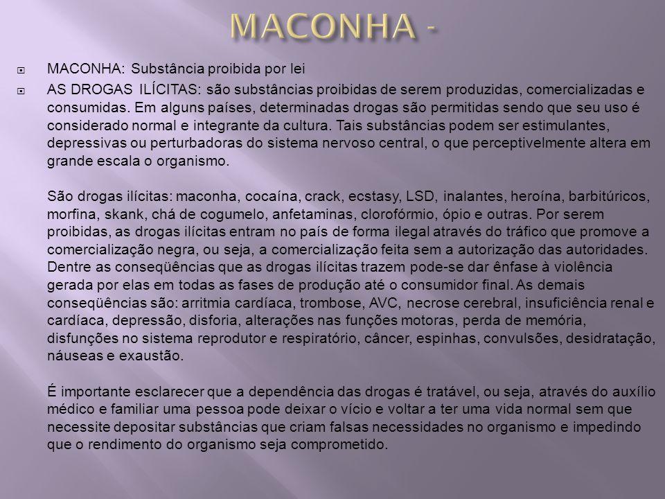 MACONHA - MACONHA: Substância proibida por lei