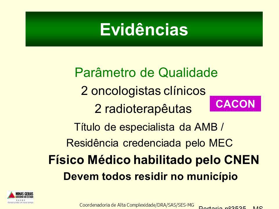 Evidências Parâmetro de Qualidade 2 oncologistas clínicos