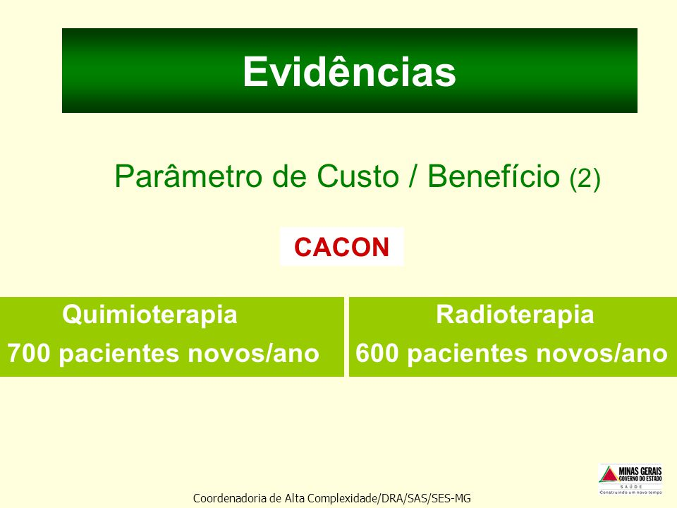 Evidências Parâmetro de Custo / Benefício (2)