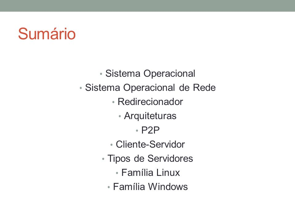 Sistema Operacional de Rede