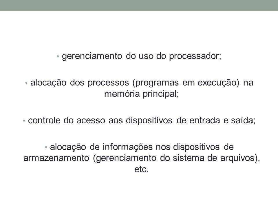 gerenciamento do uso do processador;