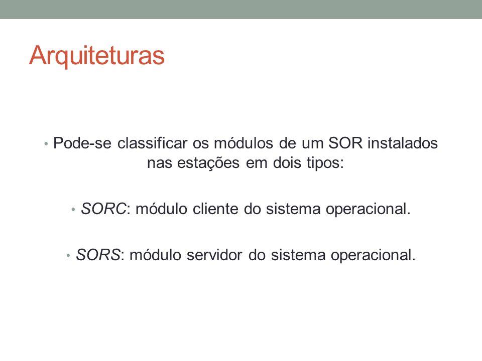 Arquiteturas Pode-se classificar os módulos de um SOR instalados nas estações em dois tipos: SORC: módulo cliente do sistema operacional.