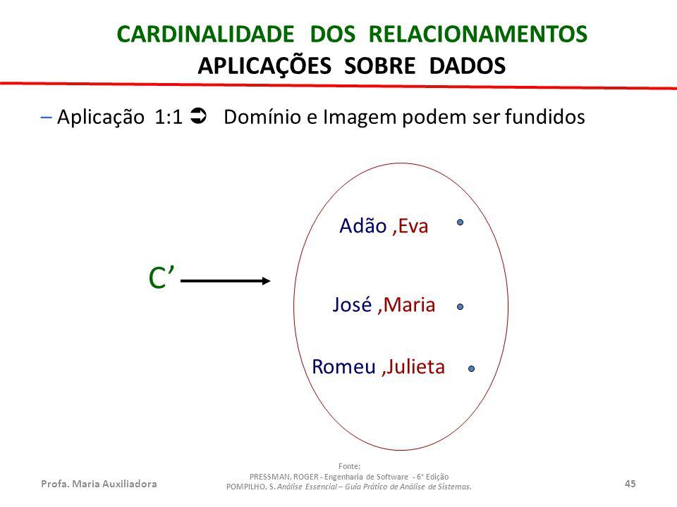 C' CARDINALIDADE DOS RELACIONAMENTOS APLICAÇÕES SOBRE DADOS