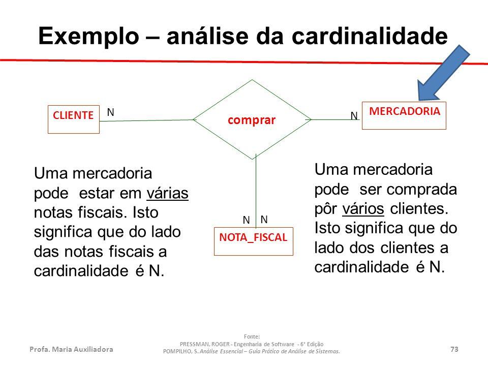 Exemplo – análise da cardinalidade