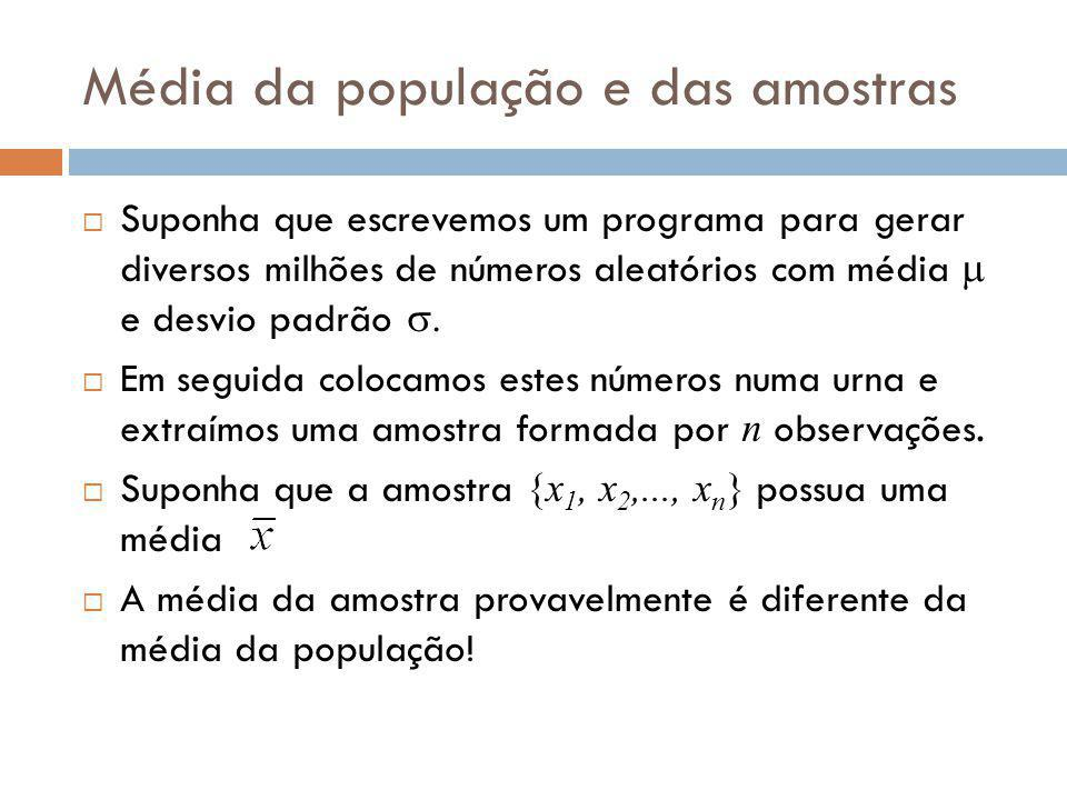 Média da população e das amostras