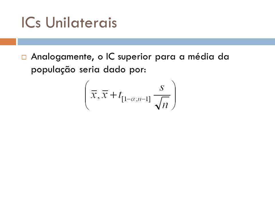 ICs Unilaterais Analogamente, o IC superior para a média da população seria dado por: