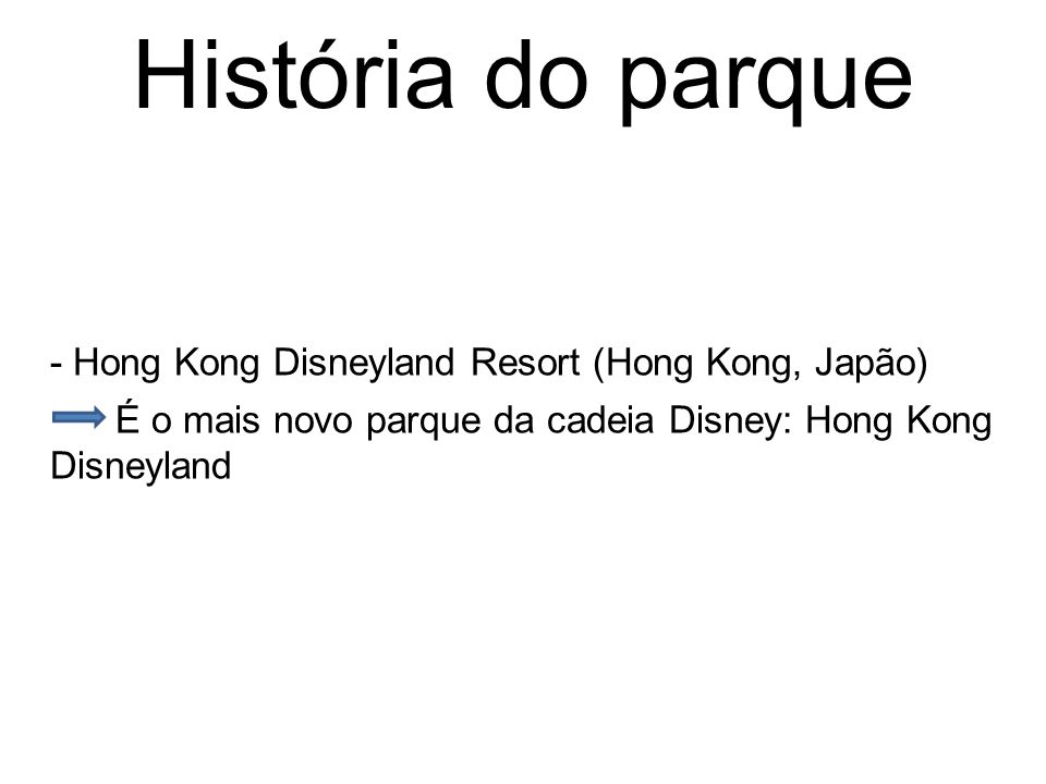 História do parque - Hong Kong Disneyland Resort (Hong Kong, Japão)