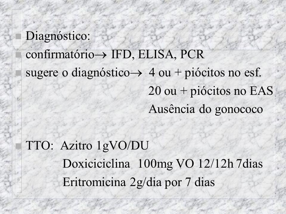 Diagnóstico: confirmatório IFD, ELISA, PCR. sugere o diagnóstico 4 ou + piócitos no esf. 20 ou + piócitos no EAS.