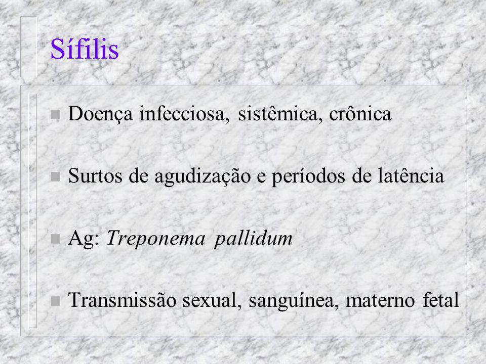 Sífilis Doença infecciosa, sistêmica, crônica