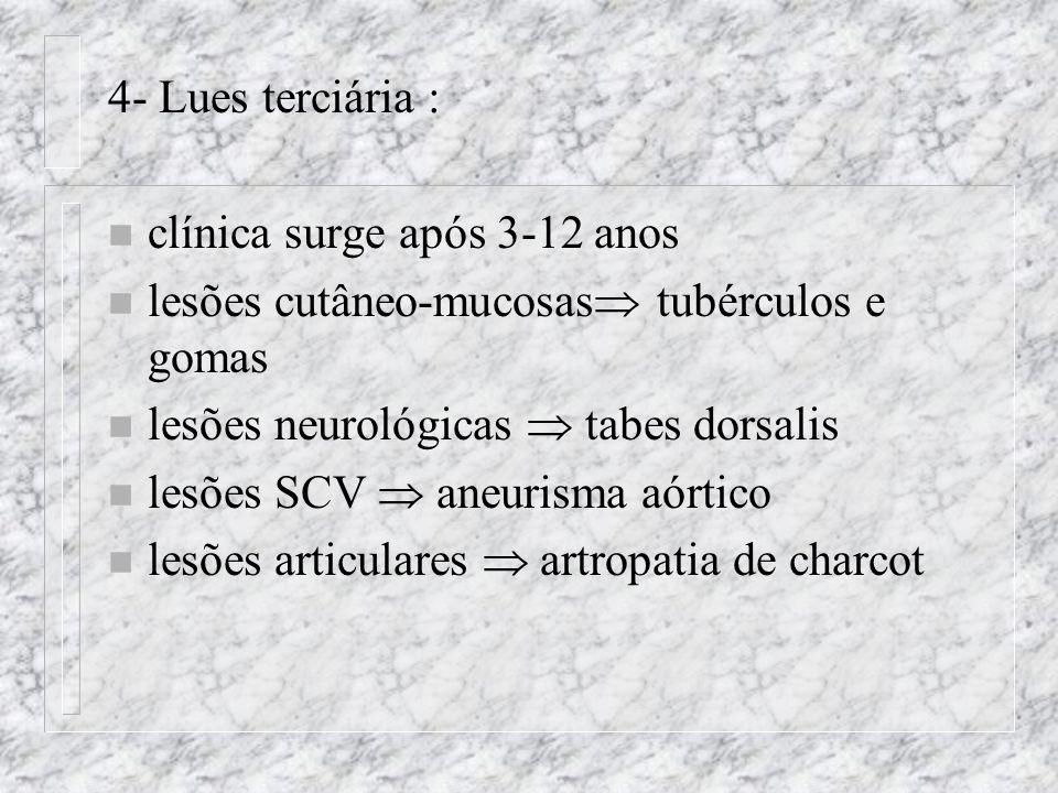4- Lues terciária : clínica surge após 3-12 anos. lesões cutâneo-mucosas tubérculos e gomas. lesões neurológicas  tabes dorsalis.
