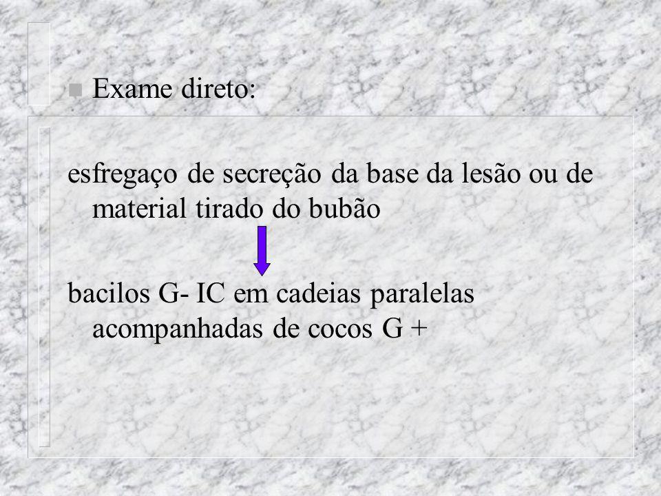Exame direto: esfregaço de secreção da base da lesão ou de material tirado do bubão.