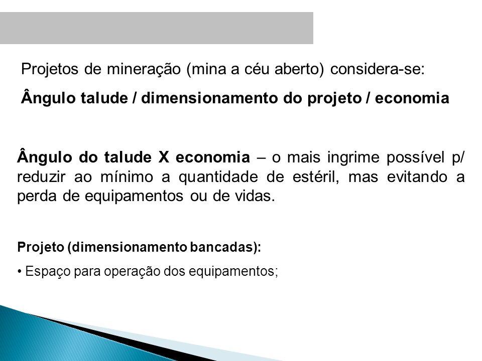 Projetos de mineração (mina a céu aberto) considera-se: