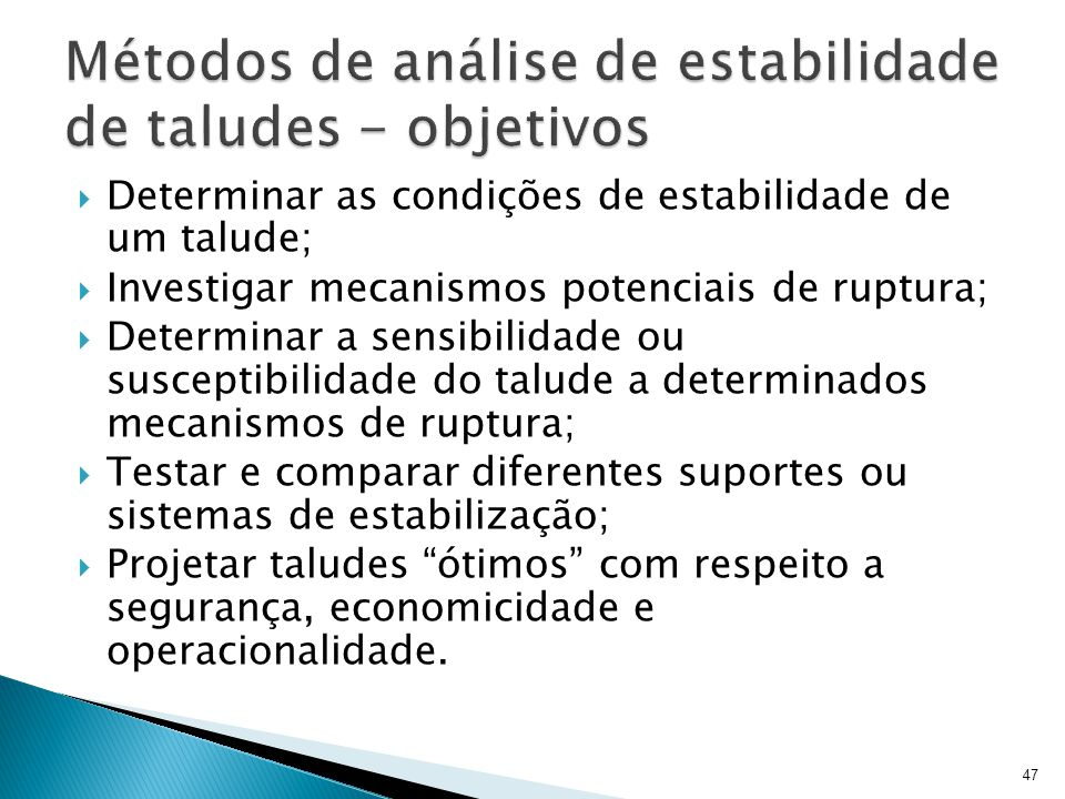 Métodos de análise de estabilidade de taludes - objetivos