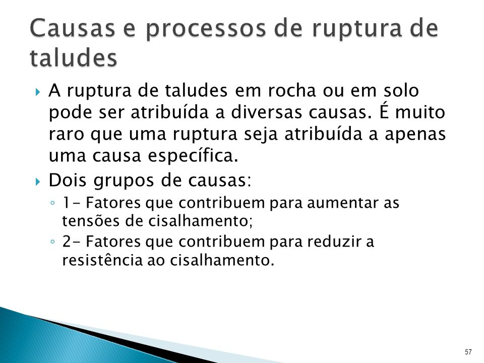 Causas e processos de ruptura de taludes