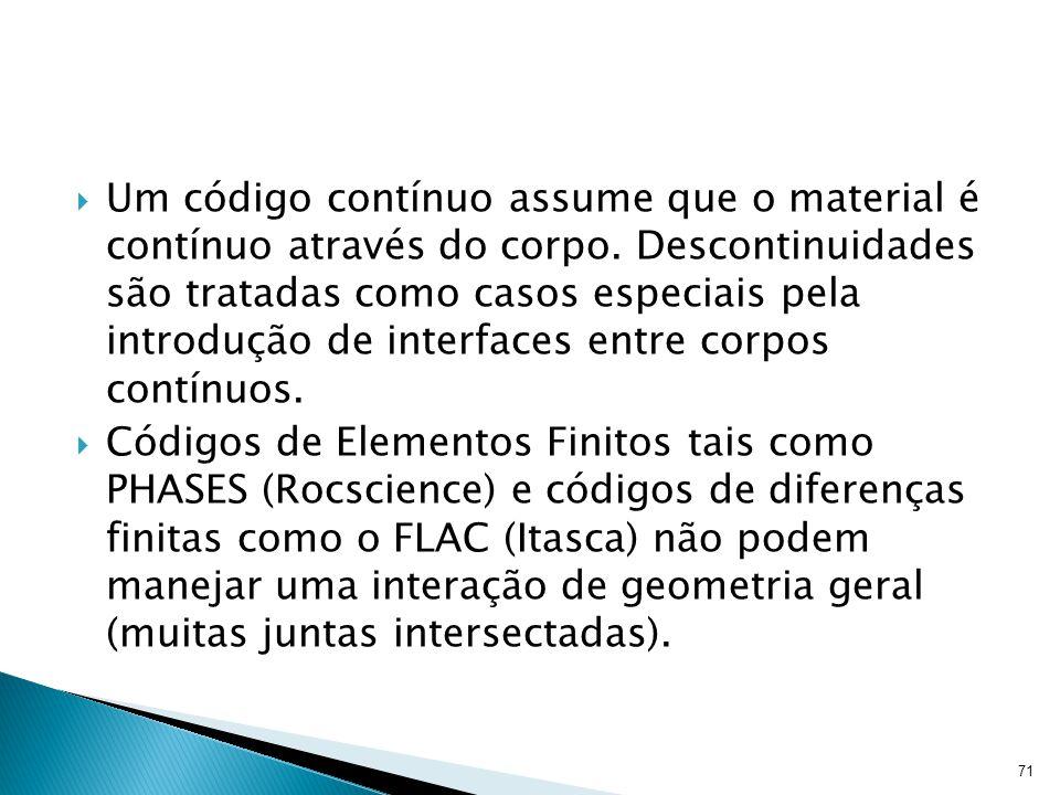 Um código contínuo assume que o material é contínuo através do corpo