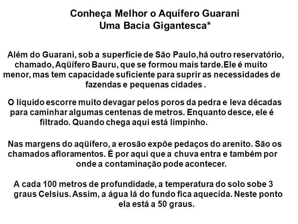 Conheça Melhor o Aquífero Guarani